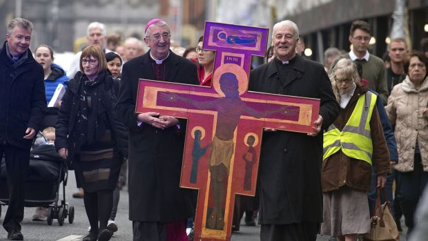Archbishops Diarmuid Martin and Michael Jackson lead The Ecumenical Procession of the Cross from Christchurch to the Pro-Cathedral in Dublin on April 19th, 2019. Photograph: Dave Meehan/The Irish Times
