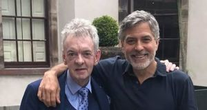 Andy Ring and George Clooney at the five star hotel in Ballyfin, Co Laois. Photograph:  Facebook/Abbeyleix Tourism and Marketing Group