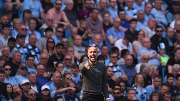 Pep Guardiola saw his side edge their way past Tottenham at the Etihad. Photograph: Oli Scarff/AFP/Getty