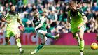Daryl Horgan shoots during Hibernian's goalless draw with Celtic. Photograph: Russell Cheyne/Reuters