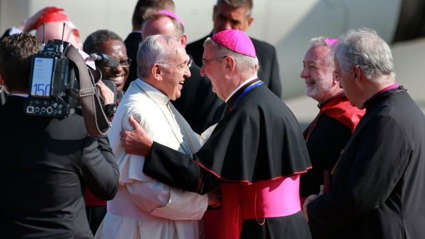 Pope Francis being greeted by Archbishop Diarmuid Martin last August. Photograph: Nick Bradshaw
