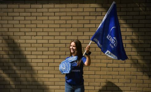 Leinster supporter Olivia McAlister from Blackrock, Co Dublin ahead of the match. Photo by David Fitzgerald/Sportsfile