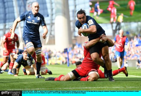 James Lowe of Leinster is tackled by Rynhard Elstadt of Toulouse as he dives over for his side's first try. Photo: Dan Mullan/Getty Images