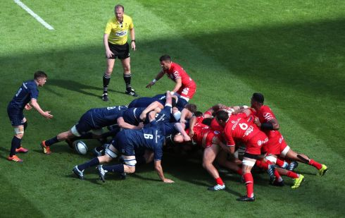 Leinster and Toulouse compete during a scrum. Photo: Liam McBurney/PA Wire