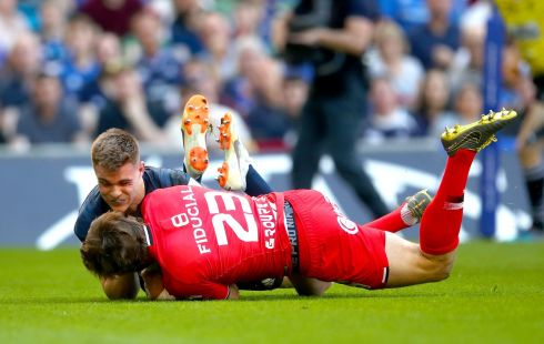 Heineken Champions Cup Semi-Final, Aviva Stadium, Dublin 21/4/2019 Leinster vs Toulouse Leinster's Garry Ringrose prevents Maxime M?dard of Toulouse from scoring a try Mandatory Credit ?INPHO/James Crombie