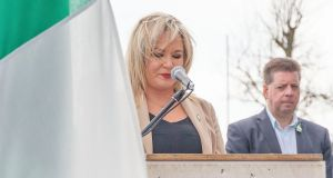 "Sinn Féin's Northern leader, Michelle O'Neill, makes a speech during an Easter commemoration parade in Derry, on Sunday. She called on dissident republicans to  end their ""futile actions"" following the murder of journalist Lyra McKee. Photograph: Joe Boland/PA Wire"