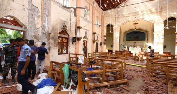 St Sebastian Church in Negombo after multiple explosions targeted churches and hotels across Sri Lanka. Photograph: Stringer/Getty