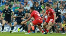 Leinster's Rob Kearney   charges upfield  in their 30-12 win over Toulouse at the Aviva. Photograph:   David Rogers/Getty Images