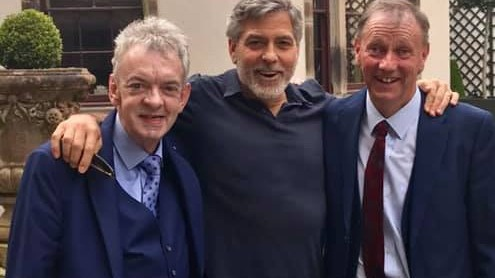 Andy Ring, George Clooney and Seamus Clooney in Ballyfin, Co Laois. Photograph: Facebook/Abbeyleix Tourism and Marketing Group