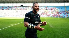 Billy Vunipola celebrates Saracens' victory over Munster in Coventry. Photograph: David Rogers/Getty