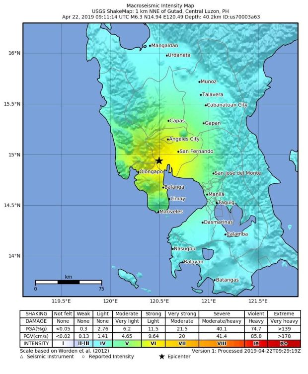 An intensity map made available by the United States Geological Survey (USGS) shows the location of a 6.3 magnitude earthquake that struck at a depth of 40.2 kilometers, near Gutad, Philippines, 22 April 2019. Photograph: USGS/EPA