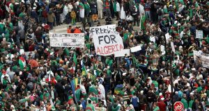 Mass protests in Algeria which began in February  have continued after former president Abdelaziz  Bouteflika's resignation as many want the removal of an entire elite that has governed Algeria since independence from France in 1962. Photograph: Reuters