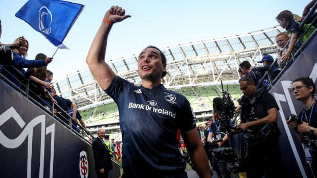 Leinster's James Lowe celebrates following the semi/final victory over Toulouse at the Aviva Stadium. Photograph: Dan Sheridan/Inpho