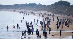 Many took the good weather as the perfect opportunity to head to the beaches, such as Portmarknock in Dublin. Photograph: Tom Honan/The Irish Times