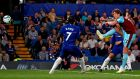 Burnley's Irish midfielder Jeff Hendrick scores at Stamford Bridge. Photograph: Getty Images