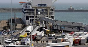 In the first rescue a British Border Force cutter was sent to intercept a small boat on which 11 men were travelling. They told British officials they were Iranian and Iraqi and were brought to Dover. Photograph: Getty Images