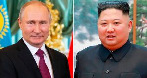 North Korea's leader Kim Jong Un will visit Russia for talks with Vladimir Putin this month, the Kremlin said. Photograph: Getty Images