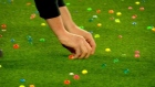 Soccer fans delay game by throwing Easter eggs on field