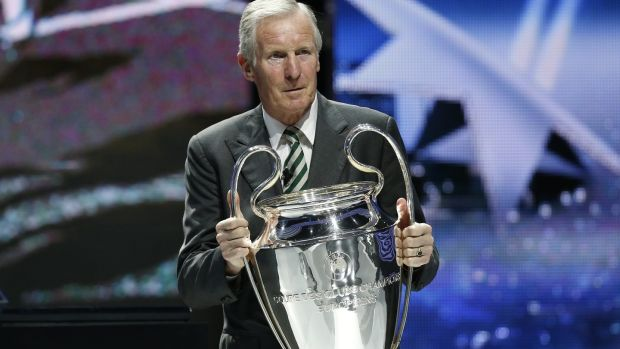 Former Celtic captain Billy McNeill with the Champions League trophy during the Champions League group stage draw in Monaco in 2013. Photograph: Valery Hache/AFP/Getty