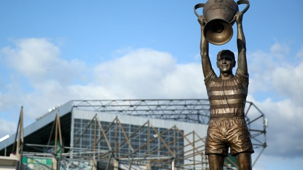 The statue of Billy McNeill Statue raising the European Cup outside Celtic Park in Glasgow. Photograph: Ian MacNicol/Getty Images
