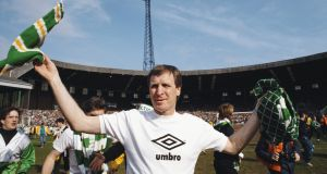 Manager Billy McNeill celebrates after his Celtic side had secured the Scottish title with a 3-0 win over Dundee on April 23rd 1988. Photograph: Simon Bruty/Allsport/Getty