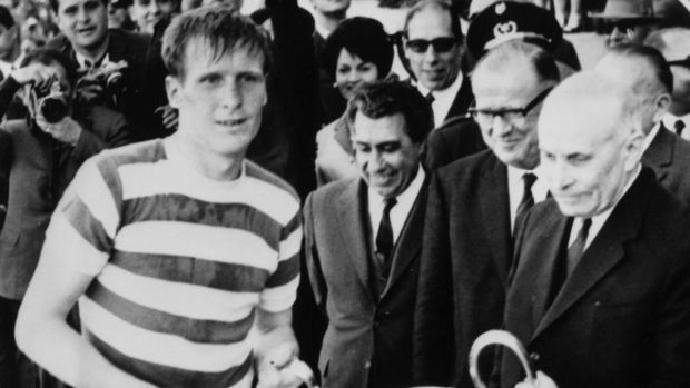 Celtic's Billy McNeill of Celtic receives the European Cup trophy from the president of Portugal after the Scottish side's 2-1 victory over Inter Milan in Lisbon in the European Cup final of 1967. Photograph: Central Press/Getty Images