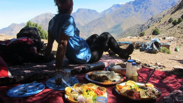 Lunch with a panoramic view of Imlil Valley.