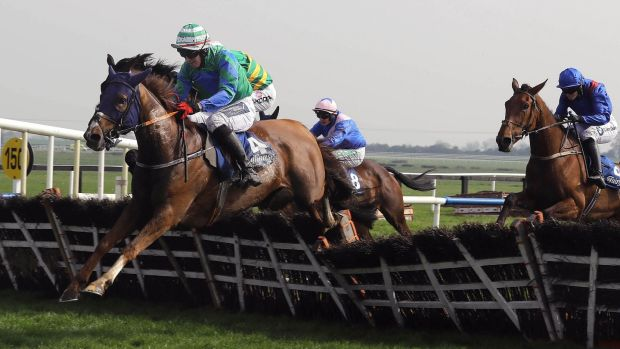 Ronald Pump and Keith Donoghue jump the last en-route to victory at Fairyhouse. Photograph: Lorraine O'Sullivan/Inpho