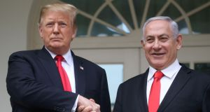 US president Donald Trump shakes hands with Israel's prime minister Binyamin Netanyahu in Washington. File photograph: Leah Millis/Reuters