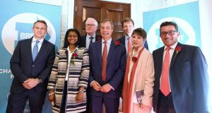 Brexit Party leader Nigel Farage (centre) with party candidates for the possible British involvement in  upcoming EU elections. Photograph:  Leon Neal/Getty