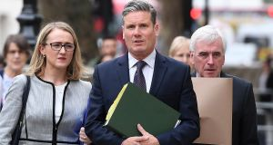 Shadow business secretary Rebecca Long-Bailey, shadow Brexit secretary Sir Keir Starmer and shadow chancellor John McDonnell:  cross-party talks have resumed following the Easter break. Photograph: Andy Rain