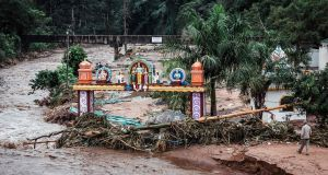 The Umhlatuzana Hindu Temple, south of Durban, damaged after the township was hit by heavy rain and flash floods following torrential downpour on April 23rd, 2019. Photograph: Rajesh Jantilal/AFP