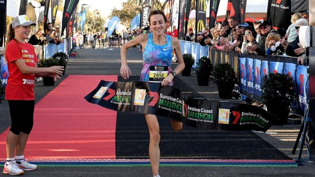 Sinead Diver crosses the finishing line to win the Sunshine Coast Half Marathon on August 19, 2018 in Sunshine Coast, Australia. Photograph: Bradley Kanaris/Getty Images
