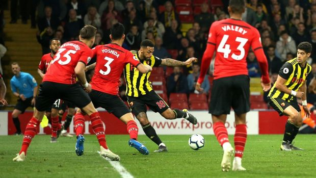 Andre Gray scores Watford's late equaliser against Southampton. Photograph: Marc Atkins/Getty