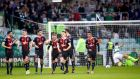 Bohemians celebrate Dinny Corcoran's winner against Shamrock Rovers. Photograph: James Crombie/Inpho