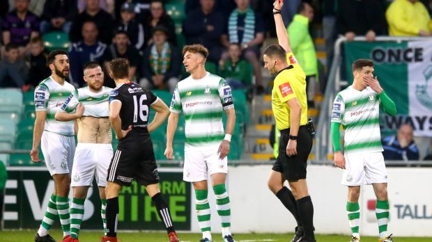 Trevor Clarke is shown a red card during Shamrock Rovers defeat to Bohemians. Photograph: James Crombie/Inpho