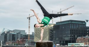 Irish gymnast Rhys McClenaghan at the Indeed jobs announcement on Wednesday, which was made by chief executive Chris Hyams at the company's new Capital Dock HQ in Dunlin's docklands