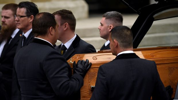 Pallbearers carry the coffin of journalist Lyra McKee at her funeral at St Anne's Cathedral in Belfast. Photograph: Clodagh Kilcoyne