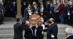 The coffin of journalist Lyra McKee is removed after her funeral at St Anne's Cathedral in Belfast. Photograph: Charles McQuillan/Getty Images