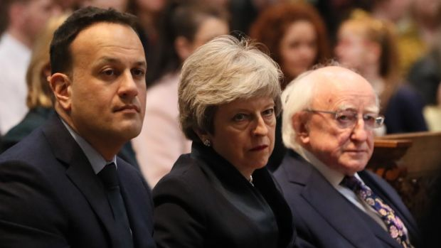 Taoiseach Leo Varadkar, British prime minister Theresa May and President Michael D Higgins attend the funeral service of journalist Lyra McKee in Belfast. Photograph: Brian Lawless/Pool/AFP/Getty Images