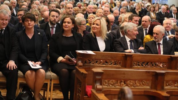 (L-R) SNP Westminster leader Ian Blackford, DUP leader Arlene Foster, Sinn Féin leaders Mary Lou McDonald and Michelle O'Neill, shadow Northern Ireland secretary Tony Lloyd and British Labour leader Jeremy Corbyn attend the funeral of journalist Lyra McKee in Belfast. Photograph: Brian Lawless/Pool/AFP/Getty Images