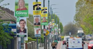 A proliferation of Local and European Election candidate posters on Parnell Road, alongside the Grand Canal, were pictured on Wednesday, the permitted time for putting  up posters.  Photograph: Alan Betson /The Irish Times