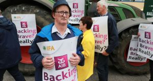 Denis O'Brien from Mitchelstown, Cork at the IFA protest held outside the AIB agm in Dublin on Wednesday. Photograph: Nick Bradshaw