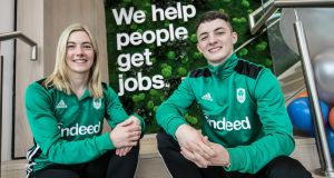 Pentathlete Natalya Coyle and gymnast Rhys McClenaghan at the Olympic Federation of Ireland  announcement of Indeed as the new sponsor. Photograph:  Chris Bellew/Fennell Photography