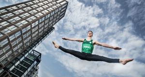 Rhys McClenaghan in Dublin's Docklands where the Irish Olympic Team for Tokyo unveiled a new partnership with jobs site Indeed. Photograph: Billy Stickland/Inpho.