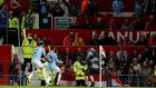 Manchester City's Bernardo Silva celebrates his goal at Old Trafford. Photograph: Reuters