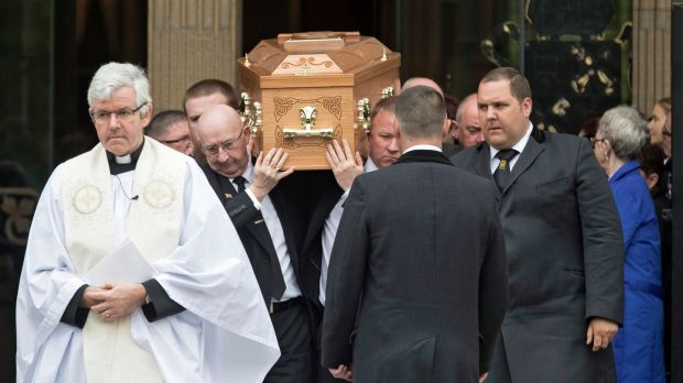 Pallbearers carry the coffin after the funeral service of Lyra McKee at St Anne's Cathedral in Belfast. Photograph: EPA/ Arthur Carron