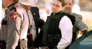 February 24th, 1999: John William King is escorted into the Jasper County Courthouse during the murder trial. Photograph: Paul Buck/AFP/Getty Images.
