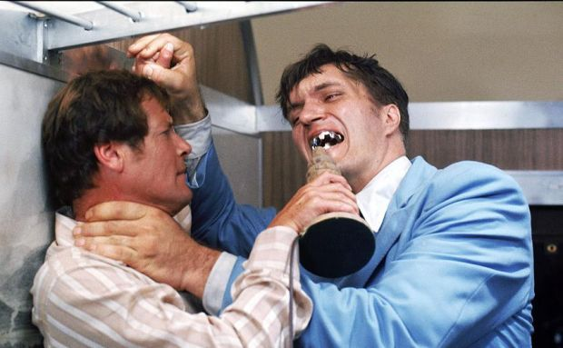 The Spy Who Loved Me: Roger Moore and, as Jaws, Richard Kiel. Photograph: MGM