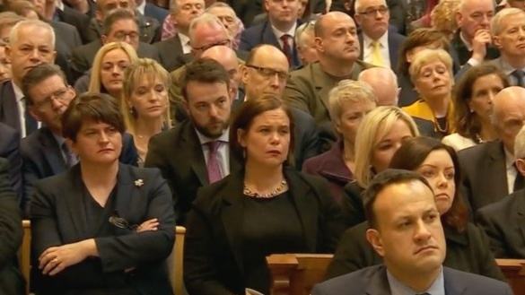Political leaders including Arlene Foster, Mary Lou McDonald and Michelle O'Neill listen to Fr Martin McGill's homily